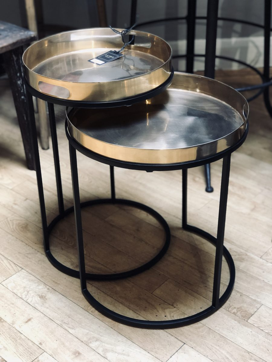 Copper Tray Tables Set Of Two